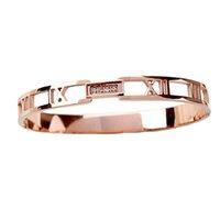 Titanium Acier Rose Gold Couleur Bijoux Numéraux Roman Numéraux Femme Bacelet Bacelet CNC Zircon Bangle Fabricant