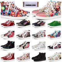 red bottoms Sapatos de grife Chaussures Studded Spike Sneakers das mulheres dos homens Triplo Preto Branco Camurça de Couro sapato casual plana 36-47 vintage