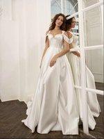 최신 웨딩 드레스 2022 숄더 신부 가운 롱 스윕 루베드 새틴 라인 로브 드 Marrige