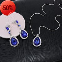 New jewelry Bridal Jewelry Wedding Diamond Earrings Pendant Necklace two piece set nkm64