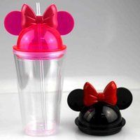 Mugs 16oz Clear Ear Tumblers with Straw 450ml Mouse Ears Mug Acrylic Plastic Water Bottles Cute Child Cups for gift AQNL