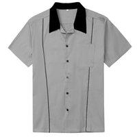 서부 망 의류 로크 빌리 회색 레트로 디자인 셔츠 짧은 소매 망 셔츠 주머니 L-2XL 2020