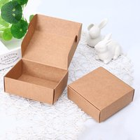 Gift Wrap 10 Pcs Lot 8.5x6x3cm Cute Square Kraft Packaging Box Wedding Party Favor Supplies Handmade Soap Chocolate Candy Storage Cart