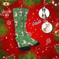 남성 양말 m yescustom 얼굴 개 PO 크리스마스 녹색 승무원 성인 유니섹스 참신 독특한 디자인 인쇄 선물