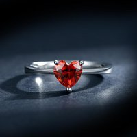 Cluster Rings Charm Female Small Red Heart Ring Crystal Silver Color Solitaire Engagement Vintage Wedding Band For Women