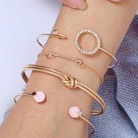 Simple Fashion Female Personality Trend Knotted Geometric Diamond Arrow Bracelet 4 Piece Set Bangle