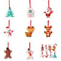 8pcs / lot dessin animé santa claus elk bonhomme de neige arbre de Noël arbre de sapin de sapin pvc ornements créatifs xmas décoration accessoires libres DHL ship hh21-642