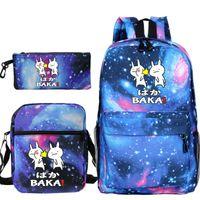 Backpack 3sets Cute Kids Pencil Case Lunch Tote Baka Slap School Bags For Girls Canvas Boys Rugzak Child Bookbag