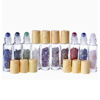 10ml Clear Glass Roll On The Perfume Bottle With Natural Crystal Quartz Stone Crystal Ball Wood Grain Cover Essential Oil Bottle DHL Free