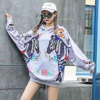 10 Designs Frauen Cartoon Muster Sweatshirts Große Größe Lose Lässige Kapuzenpullover Pailletten Beiläufige Hoodies