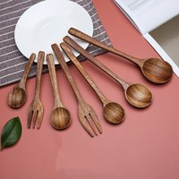 Eco Friendly Natural Wooden Spoon Coffee Tea Soup Stirring Spoon Dessert Cake Wood Forks Children Adult Soup Spoons T500742