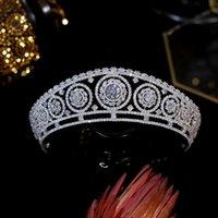 Hair Clips & Barrettes 2021 Diadema European Bridal Crown High Quality Cubic Zirconia Tiara Wedding Accessories Women Jewelry Queen's