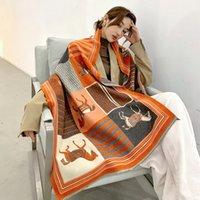 2020 роскошные кашемировые шарф женские зимние теплые шали и обертки дизайн лошади печать буфанда густые одеяло шарфы