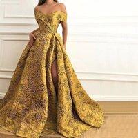 Dubai Arabian Golden Lace Evening Dress 2019 Sexy Fashion Off Shoulder Side Split Cocktail Party Dresses Prom Gowns