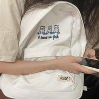 Backpack Korean Cartoon Bear Teengage Casual Y2k Women Canvas Bag Ulzzang Harajuku Fashion Letter Zip Up Vintage Cute School