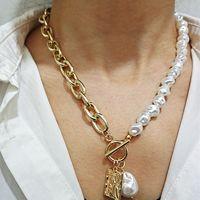 KMVEXO Vintage Baroque Baroque Collier de verrouille de perles irrégulière 2020 Pendentif Aangel géométrique Pendentif amour Colliers pour femmes punk bijoux