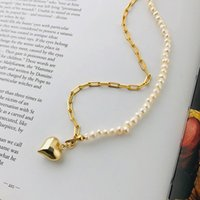 925 Sterling Silver Love Necklaces Cold Wind Retro Light Luxury Freshwater Pearl Necklace