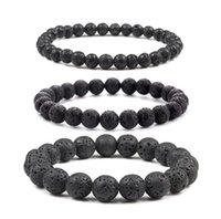 6mm 8mm 10mm Black Volcanic Lava Stone Bracelets Aromatherapy Essential Oil Diffuser Bracelet For Women Men Friend jewelry