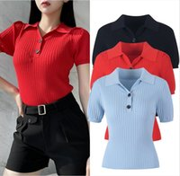 813 2021 Autumn Brand Same Style Sweater Short Sleeve Regular Lapel Neck Sweater High Quality Pullover Women Clothes yl