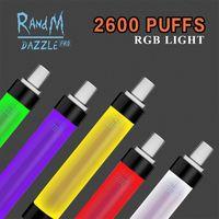RandM Dazzle Pro Disposable e cigarette 2600 puffs Vape Pen Pods 12Colors with Colorful RGB Light Rechargeable Battery