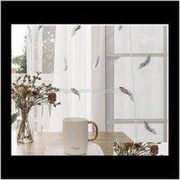 Sweer Rideaux Petit Feuille romantique Rideau White Rideau Dream Princess Feather Ecran de fenêtre flottante de la fenêtre flottante NDN0H Wulk1