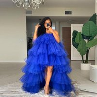 Casual Dresses Nude Khaki Party Vestido De Festa High Low Ruffle Fullness Tulle Prom Gowns Floor Length Tiered Fluffy Off Shoulder