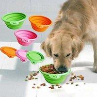 Moda Şeker Renk Pet Malzemeleri Katlanabilir Silikon Köpek Kase Açık Seyahat Taşınabilir Gıda Konteyner Besleme Tepsisi