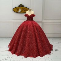 Dark Red Sequins Ball Gown Quinceanera Dresses 2022 Off The Shoulder Plus Size Prom Gowns Sweep Train Tulle Sweet 15 Masquerade Dress