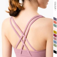 Yoga Outfits Woman Bra Cross Back Breathable Padded Proof Sports Camisole Ushaped Neck Solid Color Gathering Athletic Activewear