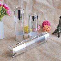 Make up Bottiglia per pompa Airless 15ml 30ml 50ml 50ml Silver Silver Liquid Cream Container Lotion Essence Bottles per Viaggio 100pcs / Lotgood Qty