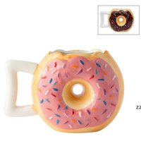 12Oz 2 Farben Keramik Donutform Kaffeetasse Brot Keks Milch Becher mit Griff Desktop Dekorative Trinkutensilien Handgemachte HWF8546