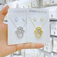 Earrings & Necklace Arabic Soy Hamsa Hand Pendant Women Men Amulet Stainless Steel Gold Color Of Fatima Choker Islamic Jewelry