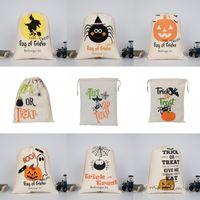 HALLOWEEN CONDY BAG BAG Подарочный мешок лечения или трюк тыква напечатанные холст сумки Hallowmas Рождественская вечеринка фестиваль DrawString сумка 1031 B3