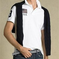 Americano estilo homens clássico polo camisas grandes pônei bordado EUA itália frança frança grande britain bandeira competindo negócio casual masculino camisetas pólos