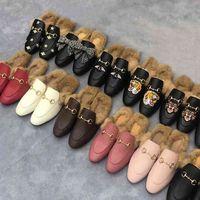 Mezza pantofole maschili con autentico morbido vacchetta da vacchetta classica in metallo in metallo fibbia dei capelli pantofole per capelli ricamato scarpe da donna calda pantofole di lana 42 5IPU