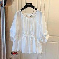 Women's Blouses & Shirts Pure Cotton Shirt Design Korean Purple White Spring Summer Tops 2021 Loose Irregular Blouse Blusas Mujer
