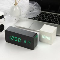 Other Clocks & Accessories LED Wooden Alarm Clock Watch Table Voice Control Digital Wood Despertador Electronic Desktop USB  Powered Deco