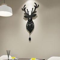 Reloj de pared de ciervos Estilo de Europa Norte Sala de estar Decoratio Creatividad Cuarzo Reloj Navideño 2021 Top G057 Relojes