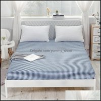 Sheets Supplies Textiles Home Gardensheets & Sets Blue Plaid Cotton For Bed Case Simplicity Bedding Fitted Sheet Bedspread Mattress Er With