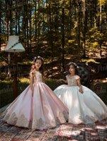 2021 Vintage rosa Princess Flower Girl Abiti con pizzo oro Appliqued da sposa Party Tutu Bambini Abito da compleanno