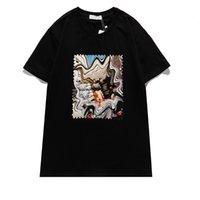 2021ss T-shirt pour hommes Battle Casual Sleeve Sleeve Tops Punk Print Lettre Chien Summer Skateboard Paris Timbre Tees