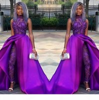 2020 Prom Jumpsuits Dresses With Detachable Train High Neck Lace Appliqued Evening Gowns African Party Women Pant Suits robes de soiree
