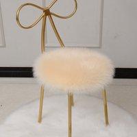 Tapis en peluche Chaise de salle à manger Faux de mouton Fourrure en peau de mouton Cerpet Coussin de luxe Soft Tissu rond 35 * 35cm DWF9976