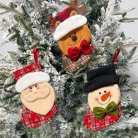 Delicate Lindos Niños Navidad Snowman Muñeco de nieve Santa Claus Elk Oso Calcetines Candy Regalo Bolsa Soporte Chimenea Navidad Árbol Decoración BWF10710