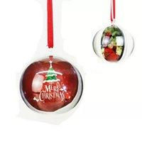 5cm Transparent Plastic Christmas Ball Hanging Pendant Oranment Hollow Balls And Sublimation Blank MDF Ornament Xmas Decoration 50pcs Free DHL CO25
