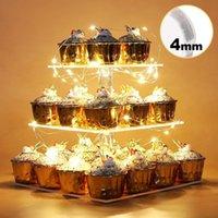 다른 축제 파티 용품 투명 사각형 케이크 스탠드 3 계층 아크릴 디저트 트리 타워 디스플레이 LED 문자열 라이트 생일 축하 웨딩 데코