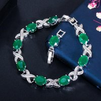 Link, Chain 2021 Trendy Jewelry Elegant X Cross Oval Green CZ Crystal Ladies Party Tennis Bracelet With Extender CB210