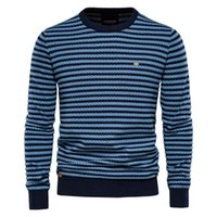 Men's Sweaters AIOPESON Cotton Striped Sweater Men Casual O-neck Warm Pullovers Knitted Male Winter High Quality Mens
