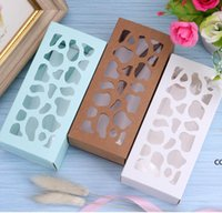 Pastry Hollow Out Storage Paper Boxes Solid Color Gift Package Rectangle Box Macaron Cake Chocolate Case Kitchen Home Supplies DHA9051