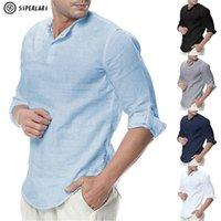 Siperlari camisas de manga larga para hombre de algodón ropa casual transpirable camisa cómoda estilo moda sólido masculino suelto hombres 210809